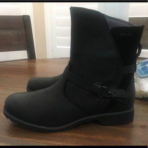 Teva De La Vina Boots Ankle Black Leather wm sz 8